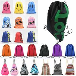 String Drawstring Backpack Cinch Sack Gym Tote Bag Travel Sp