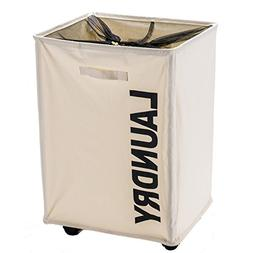 Holyluck Large Strong Laundry basket bag with Wheels easy to