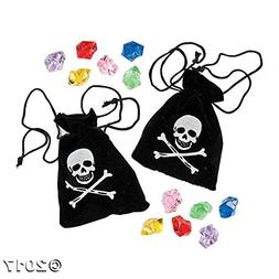 Fun Express Suede Pirate Drawstring Bags with Jewels