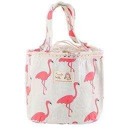 Oyachic Thermal Lunch Bag Insulated Tote Leakproof Drawstrin