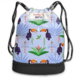 Airealy Toucan Tropical Pattern Outdoor Bundle Backpack Draw