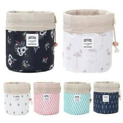 Travel Cosmetic Bag Barrel Makeup Storage  Drawstring Pouch