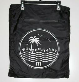 Travis Mathew Golf Drawstring Bag Zipper Suede Pocket Black