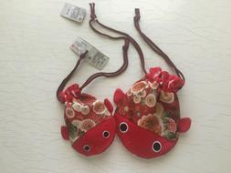 ❤TWO❤Koi Fish Red Drawstring Pouch Bag Japanese Traditio