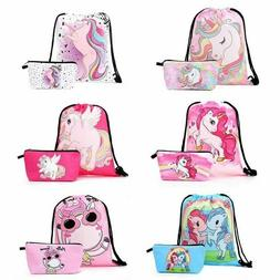Unicorn Drawstring Backpack Makeup Bag Set - Unicorn Gifts f