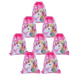 Yosbabe 8 Pack Unicorn Drawstring Bags Unicorn Party Favors