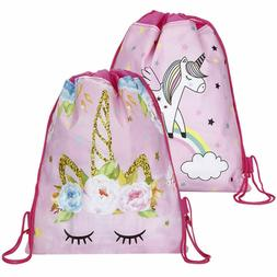 Unicorn Kid Swim Drawstring Bag Girls Flying Horse School Gy