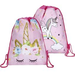 Unicorn Kids PE Swim Drawstring Bag Girls Flying Horse Schoo