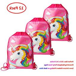 KONGZING Unicorn Party Favor Bags 12 Pack Unicorn Bag with D