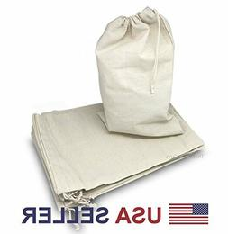 Variety of Natural Cotton Muslin Drawstring Bags For Craft,