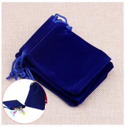 Velvet Drawstring Bag Blue