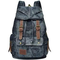 VBG VBIGER Canvas Backpack Vintage Canvas Leather Backpack C