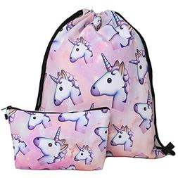 Waterproof Drawstring Bag for Girls,Print Backpack Travel Gy