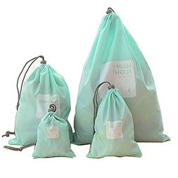 4 pieces Waterproof Travel Drawstring Bag Shoe Laundry Under