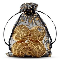 VIVOHOME Wheat Fall & Harvest Drawstring Organza Gift Bags B