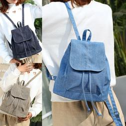 Women Canvas Backpack Drawstring School College Book Bag Tra