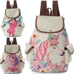 Women Ladies Backpack School Bag Canvas Drawstring Girl Trav