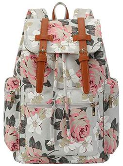 BLUBOON Women Girls Laptop Backpack Travel Canvas Leather Ca