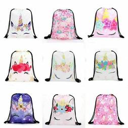 Womens Girls Unicorn Emoji Backpack Travel Drawstring Bag Ru