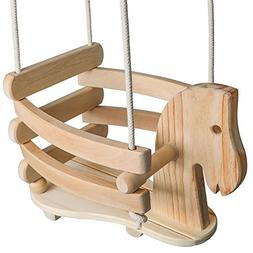 Wooden Horse Swing Set for Toddlers - Smooth Birch Wood with