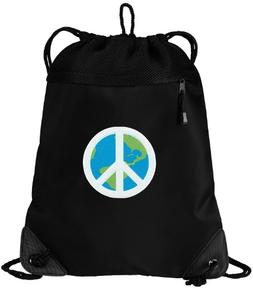 World Peace Drawstring Bag Peace Sign Cinch Pack Backpack UN