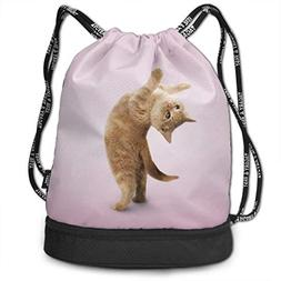 Airealy Yoga Kitten Outdoor Bundle Backpack Drawstring Backp
