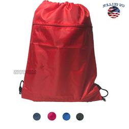 Zippered Pocket Drawstring Bag Backpack Cinch Sack BRAND NEW