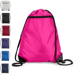 Zippered Pocket Drawstring Bag Backpack Cinch Sack